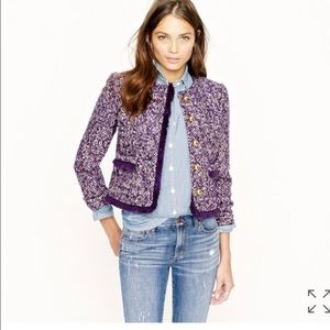 Nwot j.crew lady tweed jacket in corkcrew purple